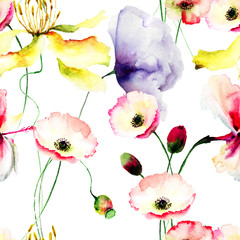 Seamless wallpaper with spring flowers