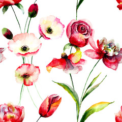 Seamless pattern with Tulip and Poppy flowers