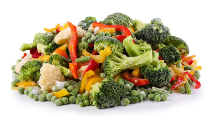 Frozen vegetables isolated on white