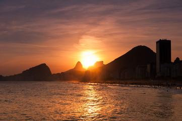 Sunset in Copacabana Beach, Rio de Janeiro