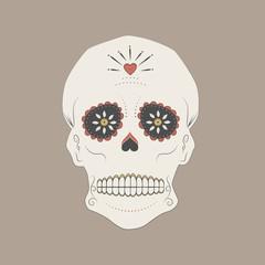 Illustration of a mexican skull, Day of the dead sugar skull.