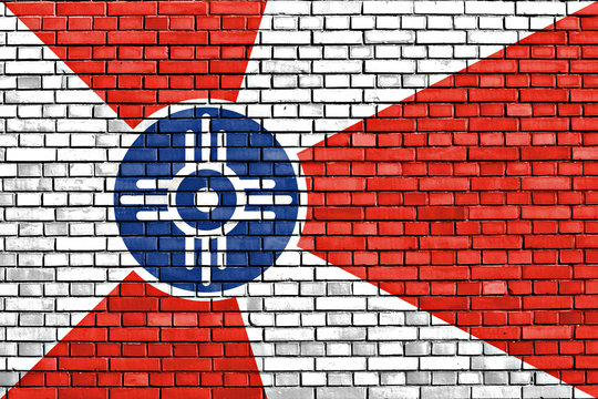 flag of Wichita painted on brick wall