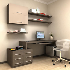 render of home work station