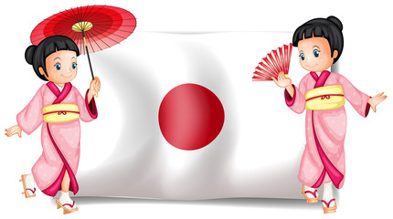 Japanese girls and flag