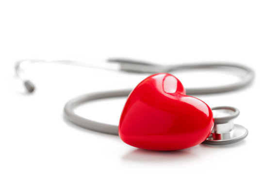 Stethoscope and red heart, medical and cardiology concept