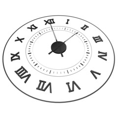 An isolated clock with Roman numerals. Time - two o'clock