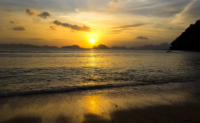 sunset in the Philippines in the area of El Nido