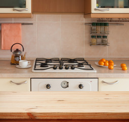 Wooden desk by. Kitchen interior