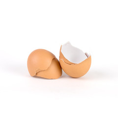 broken and cracked egg shell on white background