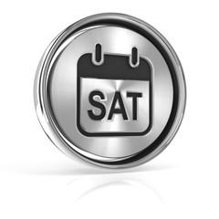 Saturday metallic icon 3d render