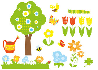 set of spring elements- garden / vectors for kids