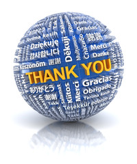 Thank you text in 22 different languages, 3d render
