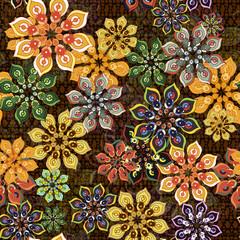 Garden Poster Moroccan Tiles seamless flower pattern on brown texture