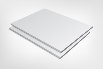 two blank magazine covers on gray background