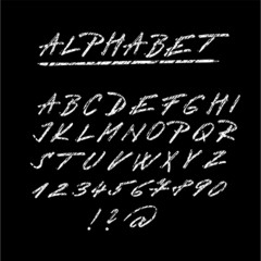 Chalk sketched font, isolated vector alphabet letters, numbers