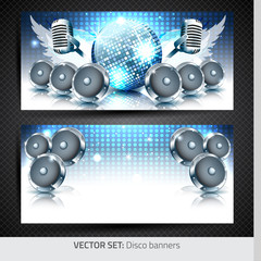 Music banners with disco ball, speakers and microphone