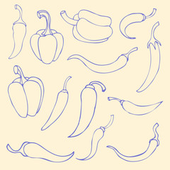 Set simple sketch icon red hot chili peppers and bell peppers. D