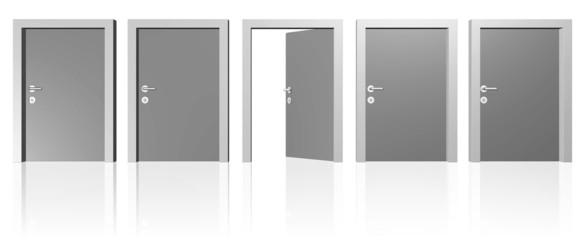 eine Reihe Türen - eine steht offen
