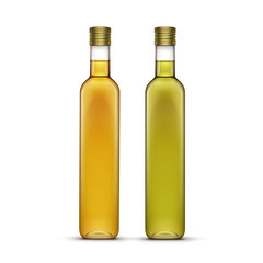 Vector Set of Olive or Sunflower Oil Glass Bottles