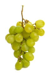 A bunch of green grape with isolated white background