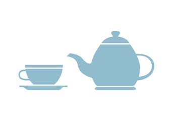 Teapot and teacup on white background