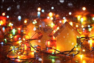 Christmas garland background Christmas Cabin