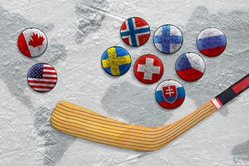 Stick, puck with images of flags and hockey field