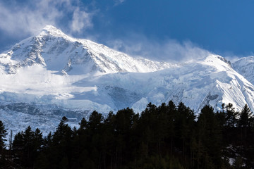 White high snowy mountains of Nepal, Annapurna region