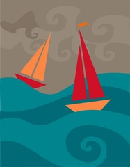 stormy sailboats