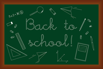 Back to school doodles set on green chalk board vector