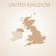 United Kingdom map brown