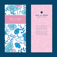 Vector blue and pink kimono blossoms vertical frame pattern