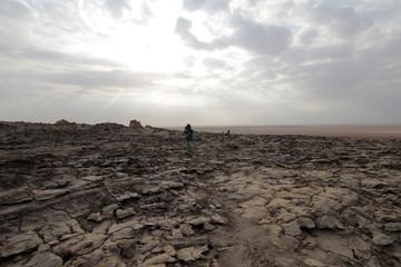 Desert near Dallol in Danakil Depression in Ethiopia