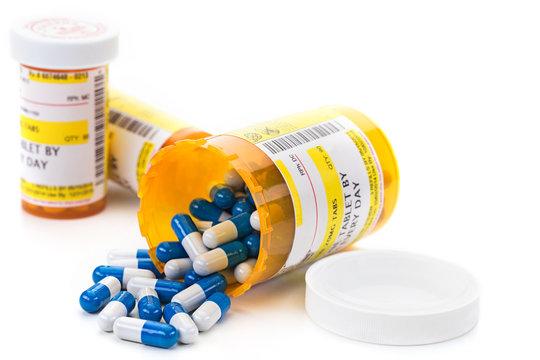 Prescription medication in pharmacy vials