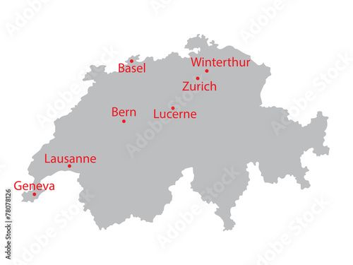 grey map of Switzerland with indication of largest cities\
