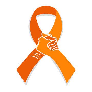 Self injury orange awareness ribbon