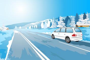 Fototapete - Alps car travel.
