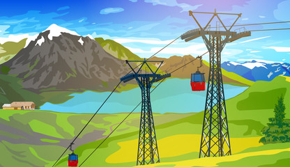 Wall Mural - Cableway in Swiss Alps