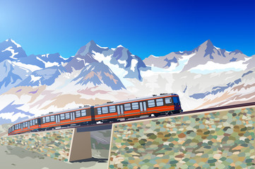 Fototapete - Train in high mountains