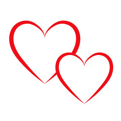 Heart painted with a brush for design. Vector illustration.