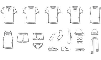 Men's clothes, Garment illustration, Underwear,  vector
