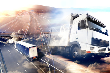Obraz Abstract background Trucks and transport.Highway and delivering. - fototapety do salonu