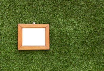 Picture frame on artificial grass