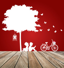 Valentine background with children read a book under tree. Vecto