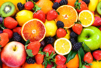 Photo sur Toile Fruits Fresh fruits mixed.Tasty fruits background.