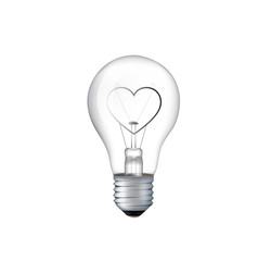 Light love bulb with filament in the shape of a heart isolated.