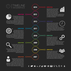 Flat colorful abstract timeline infographics vector. Black