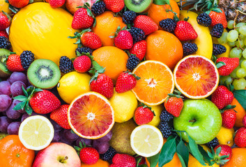 Fresh fruits.Mixed fruits background.