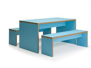 Bench and Table Seating Cyan