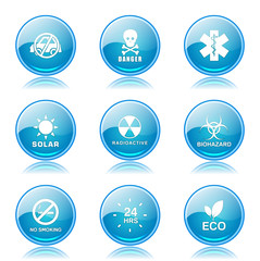 Warning Sign Blue Vector Button Icon Design Set